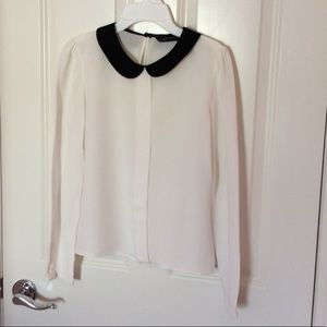 Zara Black and White Blouse with Peter Pan collar